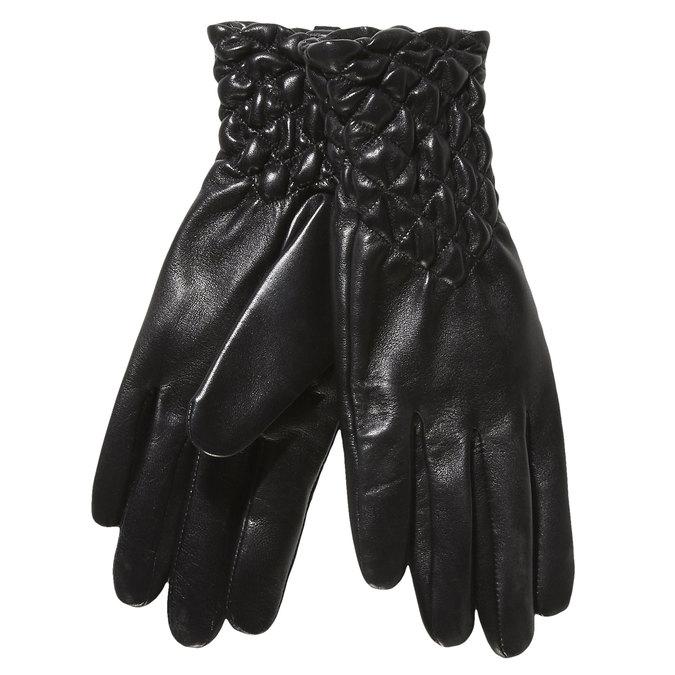 Damen-Lederhandschuhe mit Steppung bata, Schwarz, 904-6113 - 13