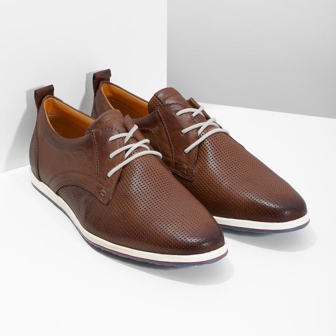 Lässige Leder-Sneakers bata, Braun, 824-4124 - 26