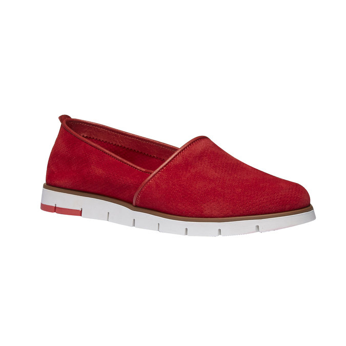 Slip-Ons aus Leder mit Perforation flexible, Rot, 513-5200 - 13