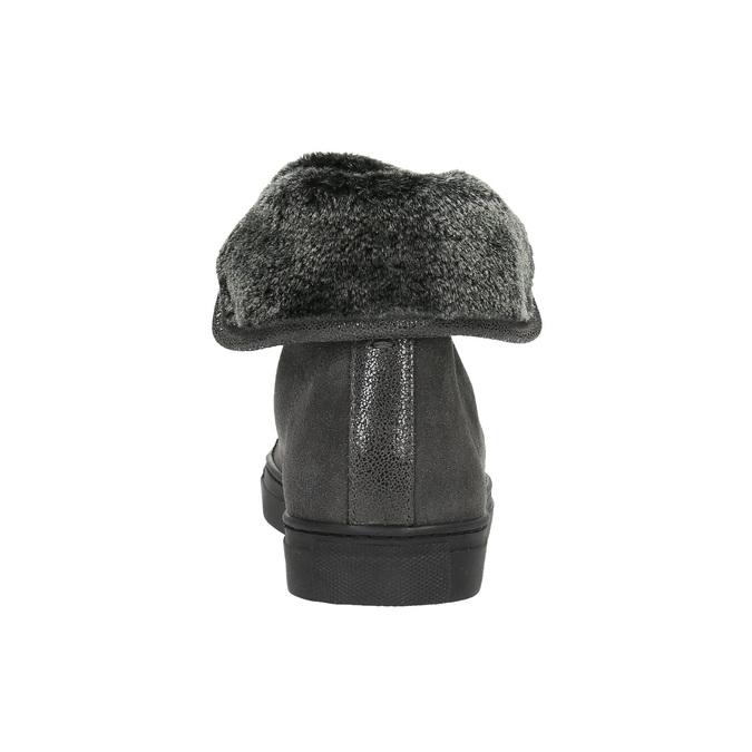 Knöchelhohe Leder-Sneakers mit Fell bata, Grau, 593-2601 - 17