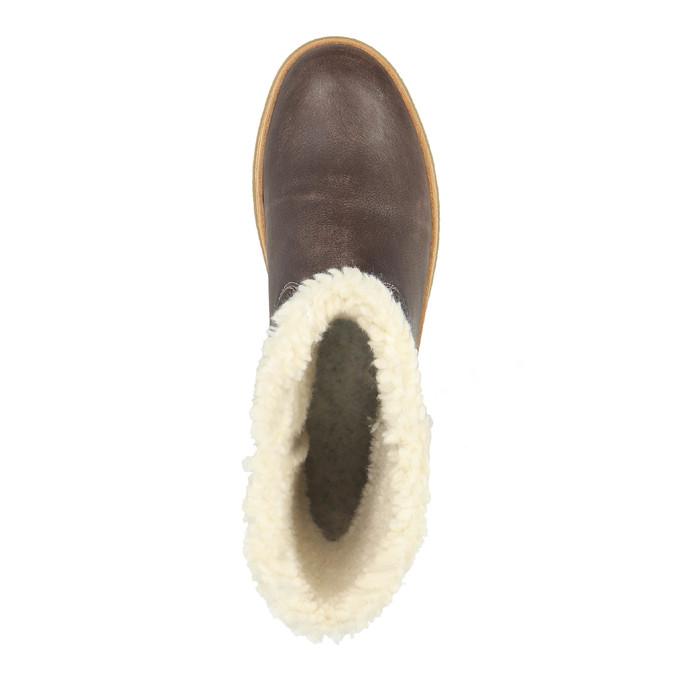 Winterlederschuhe mit Pelz weinbrenner, Braun, 596-8628 - 19
