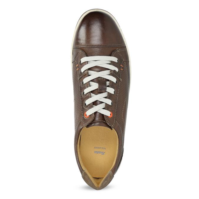 Herren-Leder-Sneakers bata, Braun, 846-4617 - 17