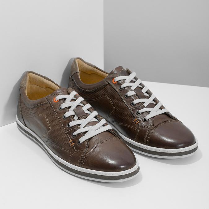 Herren-Leder-Sneakers bata, Braun, 846-4617 - 26