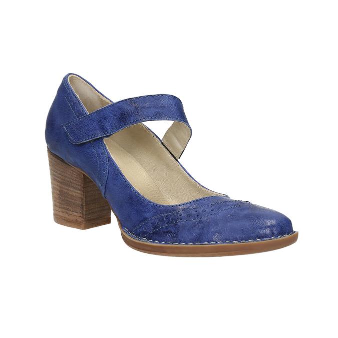 Lederpumps mit einem Riemchen über den Spann bata, Blau, 626-9641 - 13