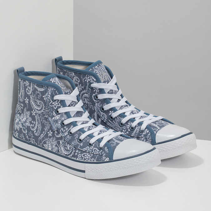 Knöchelhohe Damen-Sneakers mit Muster north-star, Blau, 589-9442 - 26