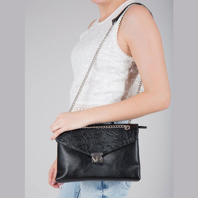 Kleinere schwarze Handtasche mit Klappe bata, Schwarz, 961-6731 - 17