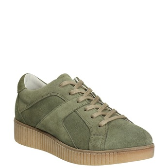 Khaki Damen-Sneakers aus Leder bata, Grűn, 523-7604 - 13