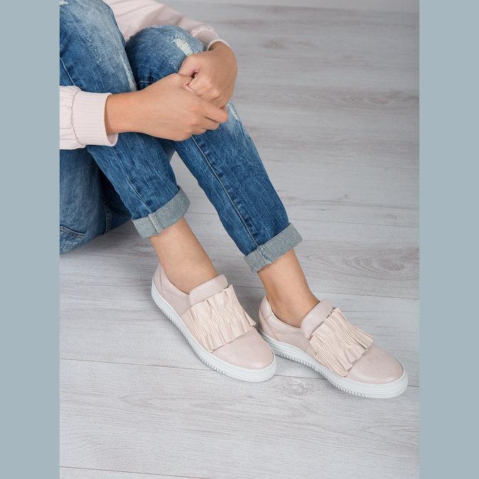 Damen-Slip-Ons aus Leder bata, Rosa, 516-5614 - 18
