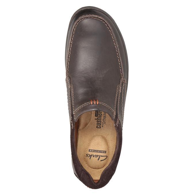 Herren-Mokassins aus Leder mit Steppung clarks, Braun, 816-4022 - 15