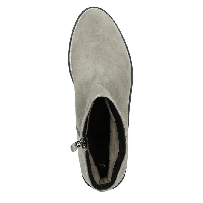 Knöchelschuhe aus geschliffenem Leder bata, Grau, 593-2603 - 26
