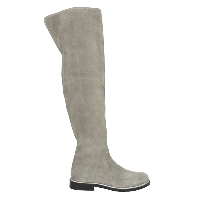 Graue Overknee-Stiefel aus Leder bata, Grau, 593-2605 - 15