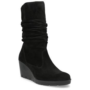 Schwarze Stiefel mit Keilabsatz bata, Schwarz, 796-6646 - 13