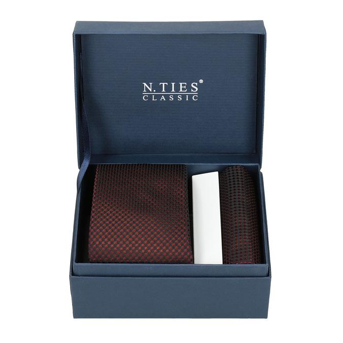 Set, bestehend aus Krawatte und Einstecktuch mit Muster bata, Rot, 999-5292 - 13