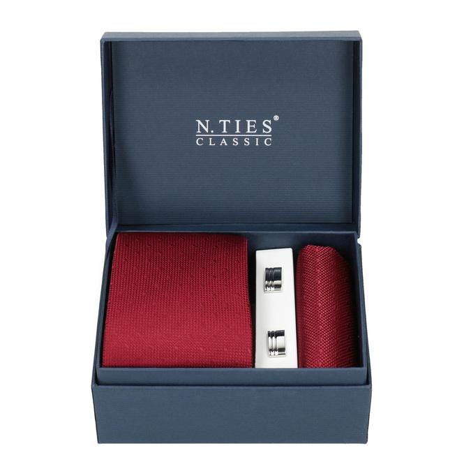 Set, bestehend aus Krawatte, Einstecktuch und Manschettenknöpfen bata, Rot, 999-5291 - 13