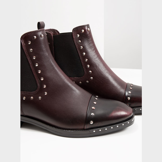 Damen-Chelsea-Boots aus Leder bata, Rot, 596-5679 - 14