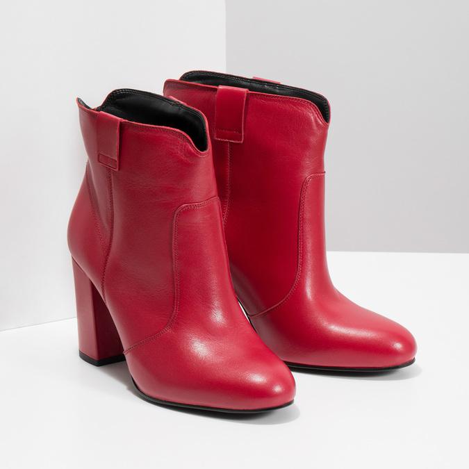 Rote Stiefeletten aus Leder bata, Rot, 794-5652 - 26