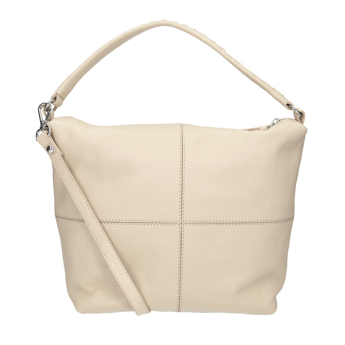 Cremefarbene Hobo-Handtasche aus Leder, Beige, 964-8290 - 16