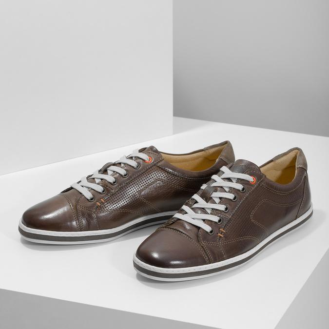 Herren-Leder-Sneakers bata, Braun, 846-4617 - 16