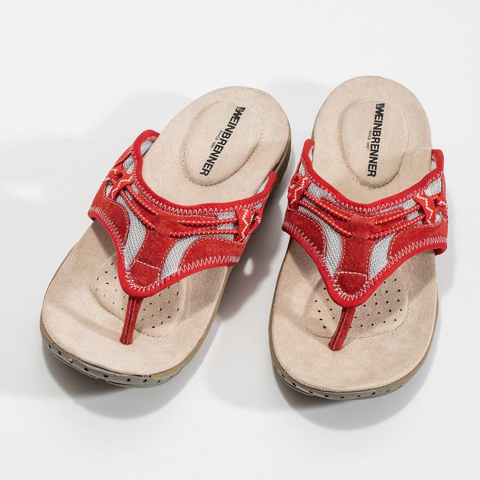 Damen-Flipflops mit markanter Sohle weinbrenner, Rot, 566-5611 - 16