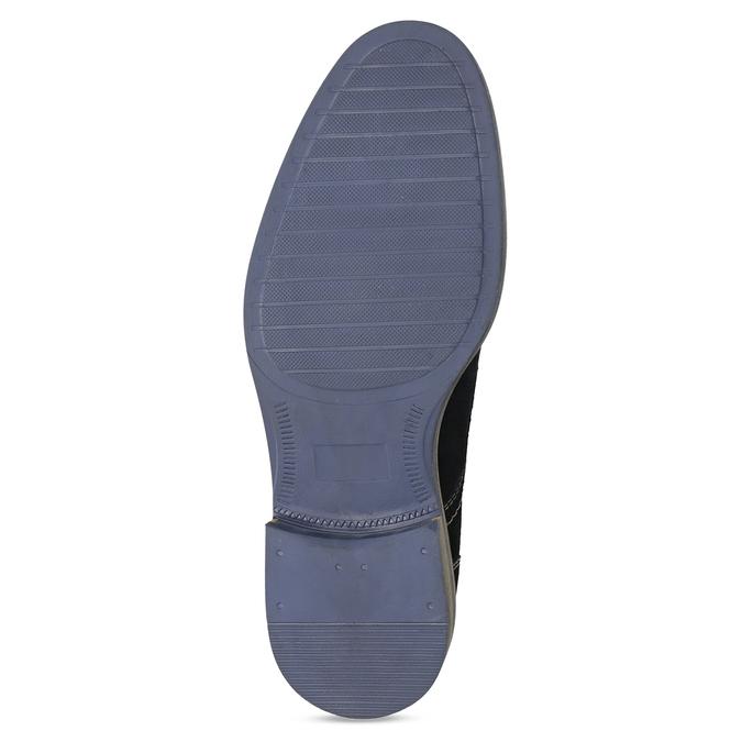 Blaue Lederhalbschuhe mit Steppung bata, Blau, 823-9613 - 18